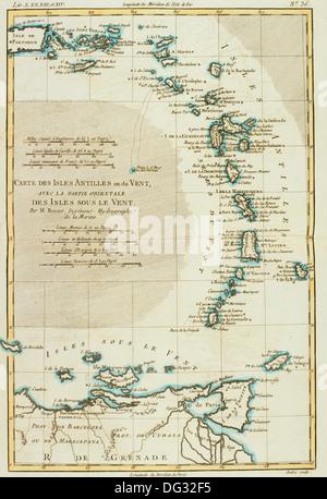 Lesser Antilles, 18th century map - Stock Photo