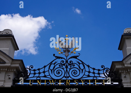 Details of the entrance gate to the University of Warsaw, Poland - Stock Photo