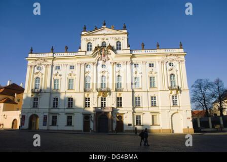 Arcibiskupsky palac at Hradcanske namesti square in Hradcany district of Prague Czech Republic Europe - Stock Photo
