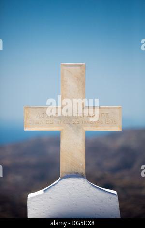 Orthodox Cross with Greek inscriptions at the Agios Ioanis Prodromos Church, Ano Mera, Pano Meria Village, Folegandros, - Stock Photo