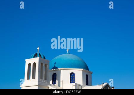 Agios Ioanis Prodromos Church, Ano Mera, Pano Meria Village, Folegandros, Cyclades Islands.Gorgeous blue and white - Stock Photo