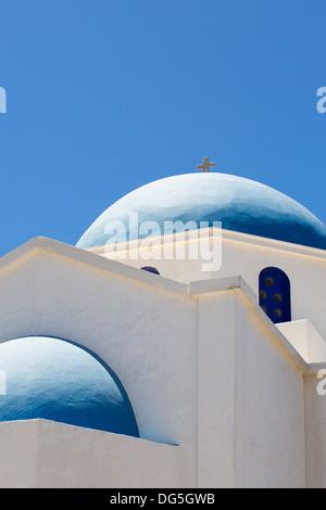 Agios Ioanis Prodromos Church, Ano Mera, Pano Meria Village, Folegandros, Cyclades Islands. Gorgeous blue  white - Stock Photo