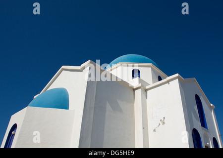 Agios Ioanis Prodromos Church, Ano Mera, Pano Meria Village, Folegandros, Cyclades Islands.Gorgeous blue  white - Stock Photo