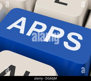 Apps Keys Showing Internet Application Or App - Stock Photo
