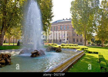 Zrinjevac square , park, nature and fountain in city of Zagreb, capital of Croatia - Stock Photo