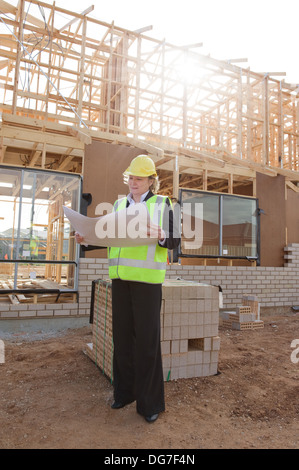 civil female engineer at the construction site - Stock Photo