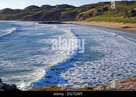 Rolling waves breaking onto Oldshoremore beach, near Kinlochbervie, Northwest Highlands, Sutherland, Scotland UK - Stock Photo