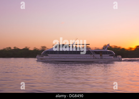 Passenger ferry sailing by the Rio de la Plata, between Argentina and Uruguay. - Stock Photo