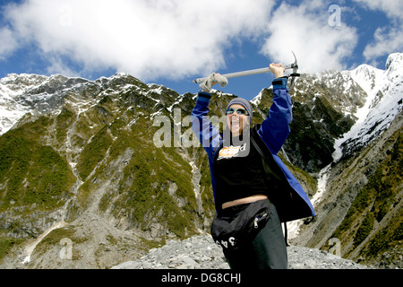 Glacier hiking through the Franz Josef glacier is a major attraction of New Zealand´s South Island. An inspiring - Stock Photo