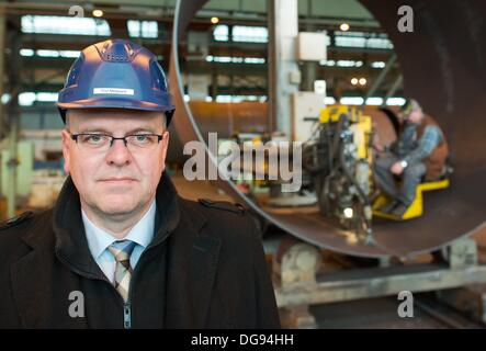 Fuerstenwalde, Germany. 15th Oct, 2013. Manager Finn Melgaard of the chemical and tank facility construction company - Stock Photo