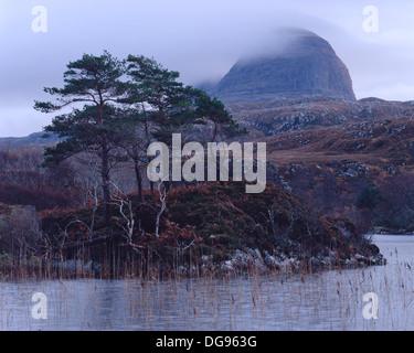 Loch Druim Suardalain w/ Mt Suilven in background - Stock Photo