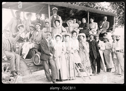 People bus. Vintage 1909. Photography time. Old Public Transportation. - Stock Photo