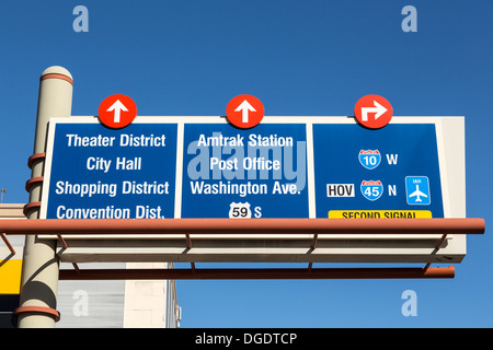Traffic direction signs over road Houston Texas USA - Stock Photo