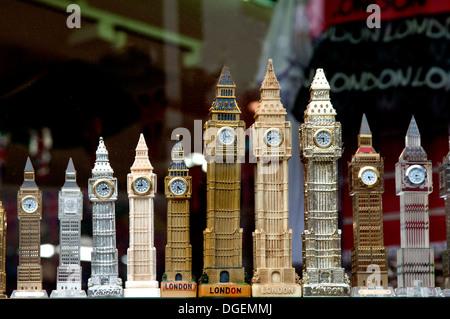 Models of Big Ben in London tourist shop - Stock Photo