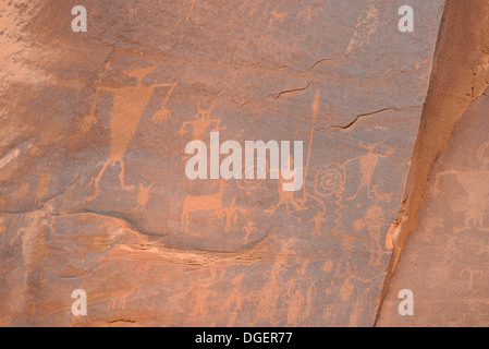 Indian Petroglyphs, Potash Road, near Moab, Utah, USA - Stock Photo