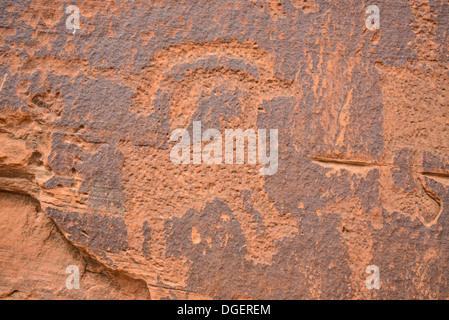 Indian Petroglyphs, showing bighorned sheep, Potash Road, near Moab, Utah, USA - Stock Photo