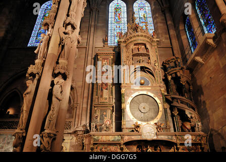 Astronomical clock inside Strasbourg Cathedral, Strasbourg, Alsace, France, Europe - Stock Photo