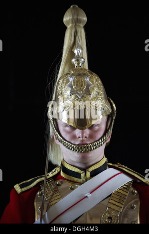 Household Cavalry mounted trooper in ceremonial uniform, Horse Guards, City of Westminster, London, England, april - Stock Photo