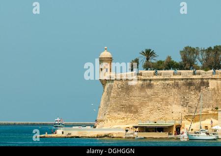 Watchtower on Fort St Michael, Senglea, Malta - Stock Photo
