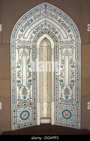 Decorative niche in an arcade, Sultan Quaboos Grand Mosque, Capital Area, Oman, Middle East - Stock Photo