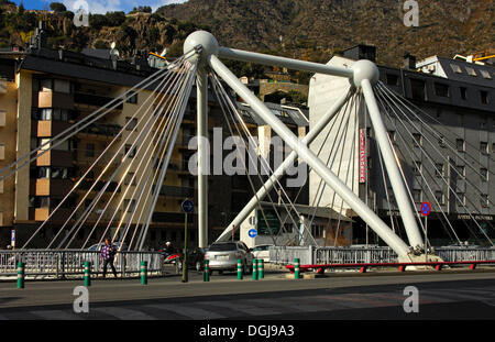 Pont de Paris, street Bridge in the center of Andorra la Vella, Principality of Andorra, Europe - Stock Photo