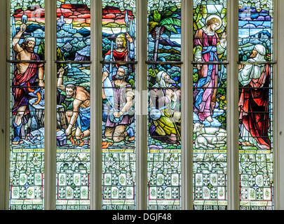 Stained-glass windows, First Church of Otago, a Presbyterian church, Victorian-style cathedral, Dunedin, South Island - Stock Photo