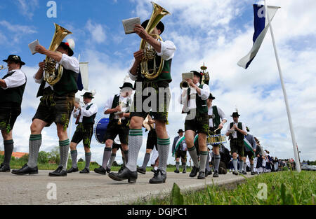 Parade in traditional costume in Baiernrain, district of Bad Toelz-Wolfratshausen, Upper Bavaria, Bavaria - Stock Photo