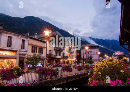 Mont Blanc view from Chamonix France - Stock Photo