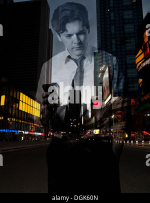 Double exposure of stressed businessman with smartphone against city scene - Stock Photo