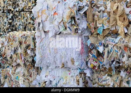 Bale of paper and cans at the recycling collection facility in Enterprise, Oregon. - Stock Photo