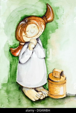 Girl milked fresh milk from favorite cows concept. Watercolor handmade art painted illustration - Stock Photo