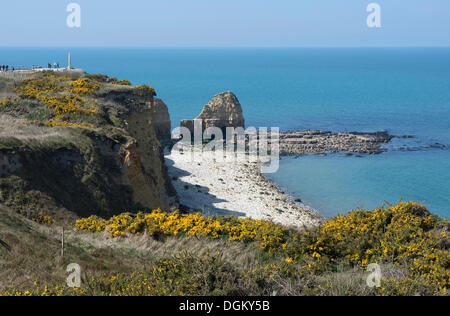Coast with the Pointe du Hoc memorial, Omaha Beach, Lower Normandy, France, Europe - Stock Photo