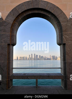 Skyline of Doha, view from the Museum of Islamic Art, Doha, Qatar, Persian Gulf, Middle East, Asia - Stock Photo