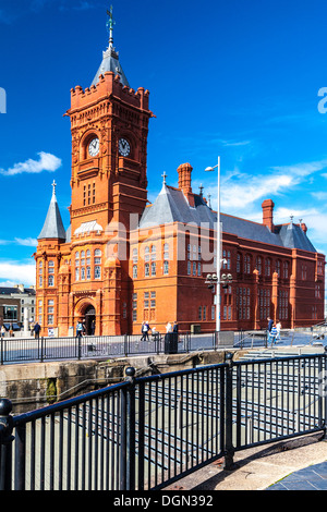 View of the Pierhead Building of the National Assembly of Wales in Cardiff Bay. - Stock Photo