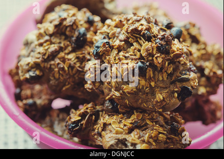 Baked Oatmeal cookies on a light background - Stock Photo