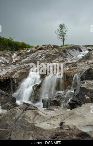 Sgurr nan Gillean from Sligachan, waterfalls, Schottland, Isle of Skye, Scotland, United Kingdom - Stock Photo