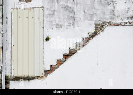 Abstract of door, stairs and grunge wall - Stock Photo