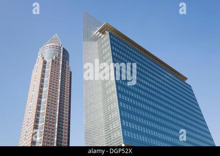 Messeturm and Pollux buildings, Frankfurt, Hesse - Stock Photo