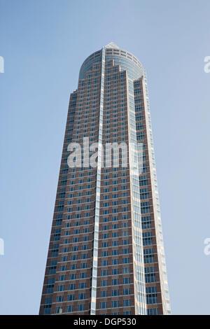 Messeturm building, Frankfurt, Hesse - Stock Photo