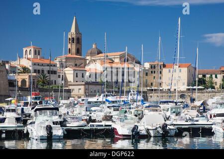 Port of Alghero, overlooking the historic town, Sassari Province, Sardinia, Italy, Europe - Stock Photo