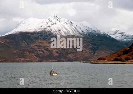Beinn Sgritheall over Loch Hourn from the north coast of Knoydart, Highland region, Scotland, UK. - Stock Photo