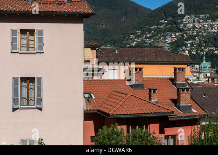 View of the town of Lugano from the esplande at the Cathedral of San Lorenzo - Stock Photo