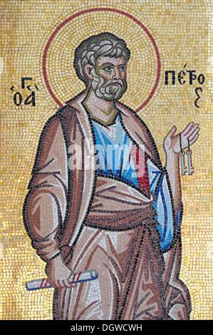 Greek orthodox Christianity, mosaic, St. Paul, Kykkos monastery, Troodos, Cyprus, Europe - Stock Photo