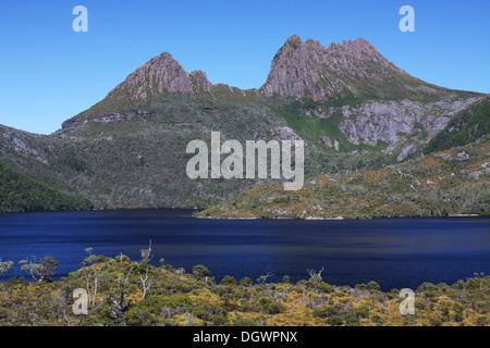 Cradle Mountain and Dove Lake in Tasmania, Australia - Stock Photo