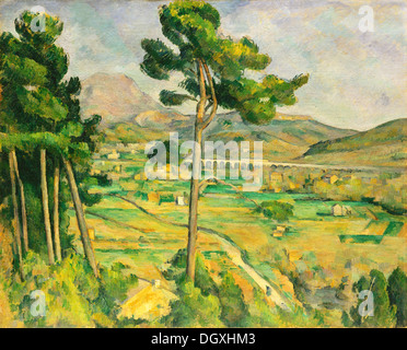 Mont Sainte-Victoire and the Viaduct of the Arc River Valley - by Paul Cézanne, 1885 - Stock Photo