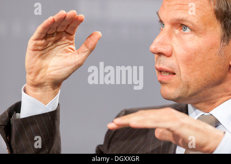 Rene Obermann, CEO of Deutsche Telekom AG, in Passau, Bavaria - Stock Photo