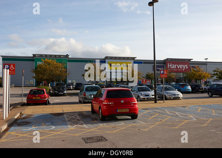 disabled parking at an out of town retail shopping park in the uk - Stock Photo