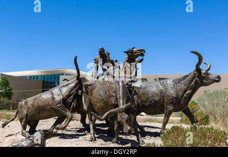 Sculptures outside the Albuquerque Museum of Art and History, Albuquerque, New Mexico, USA - Stock Photo