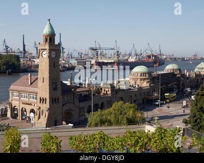 Landing bridges, piers, St. Pauli, Hamburg - Stock Photo