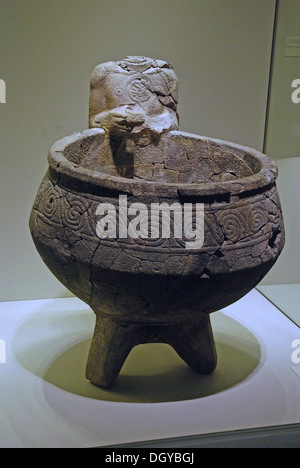 5689. Hazor, Holy of Holiest Orthostat Temple. Decorated basalt basin for liquid offerings. Late Canaanite period, - Stock Photo